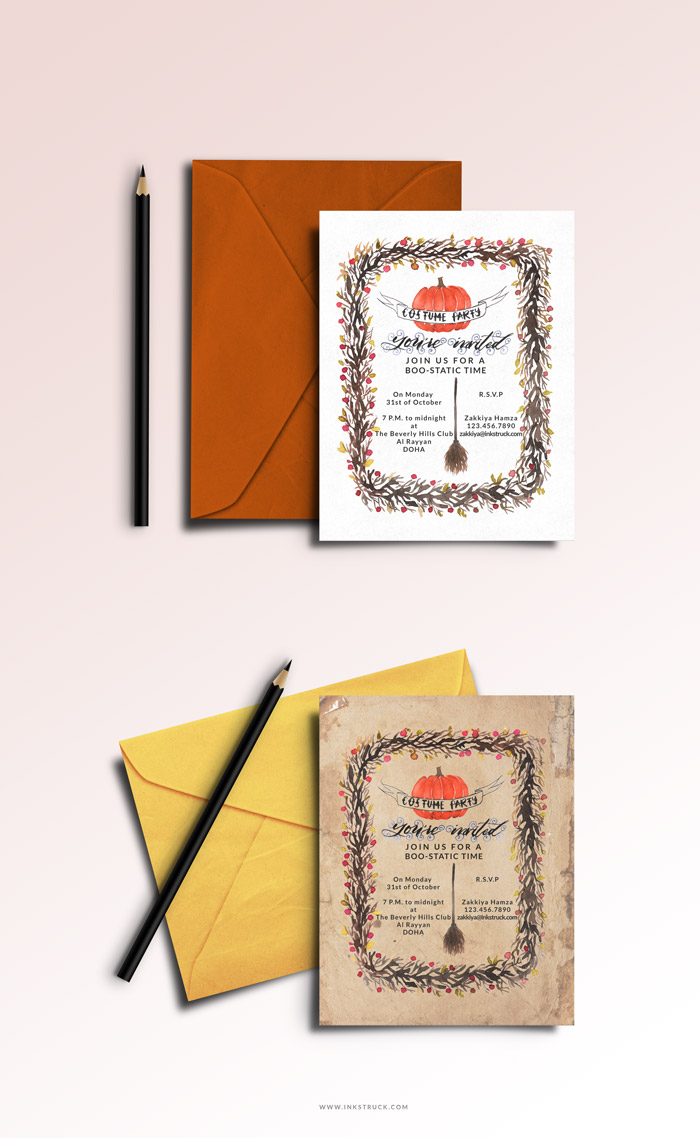 Create a fab DIY halloween invitations in watercolor from this tutorial. Read more by clicking the link   Inkstruck Studio