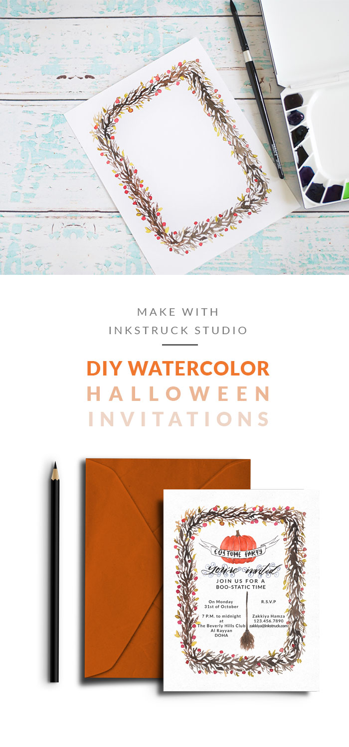 Create a fab DIY halloween invitations in watercolor from this tutorial. Read more by clicking the link | Inkstruck Studio