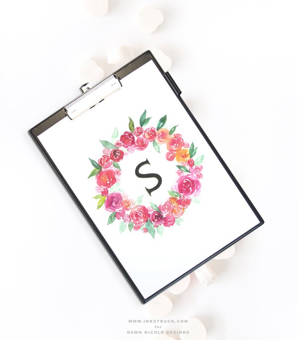 DIY watercolor flower wreath tutorial with a monogram | Inkstruck Studio