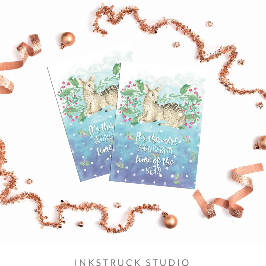 Whoop! Free watercolor Christmas cards are here. Click to download them for FREE - www.inkstruck.com