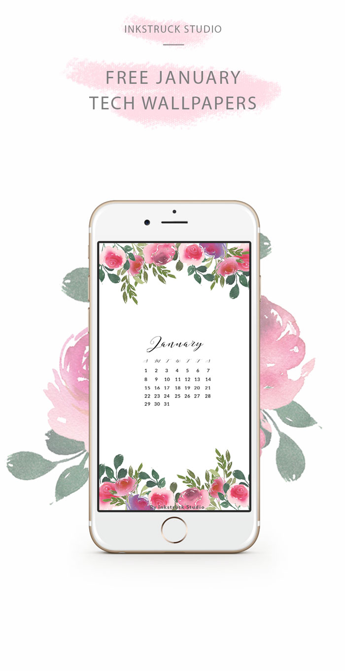January Watercolor Floral Wallpaper Inkstruck Studio