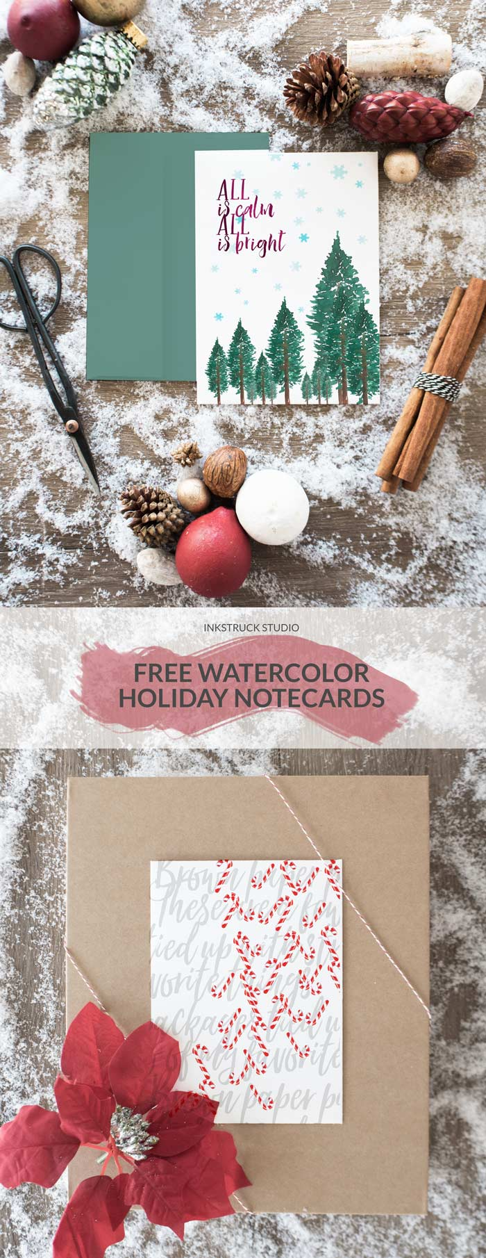 Need a freebie for the holidays? These watercolor holiday notecards perfect to download and print. - Inkstruck Studio