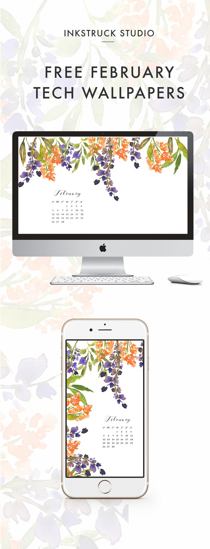 Time to change your desktop backgrounds! Grab my free watercolor wallpapers for February to dress your your phones and desktops - Inkstruck Studio