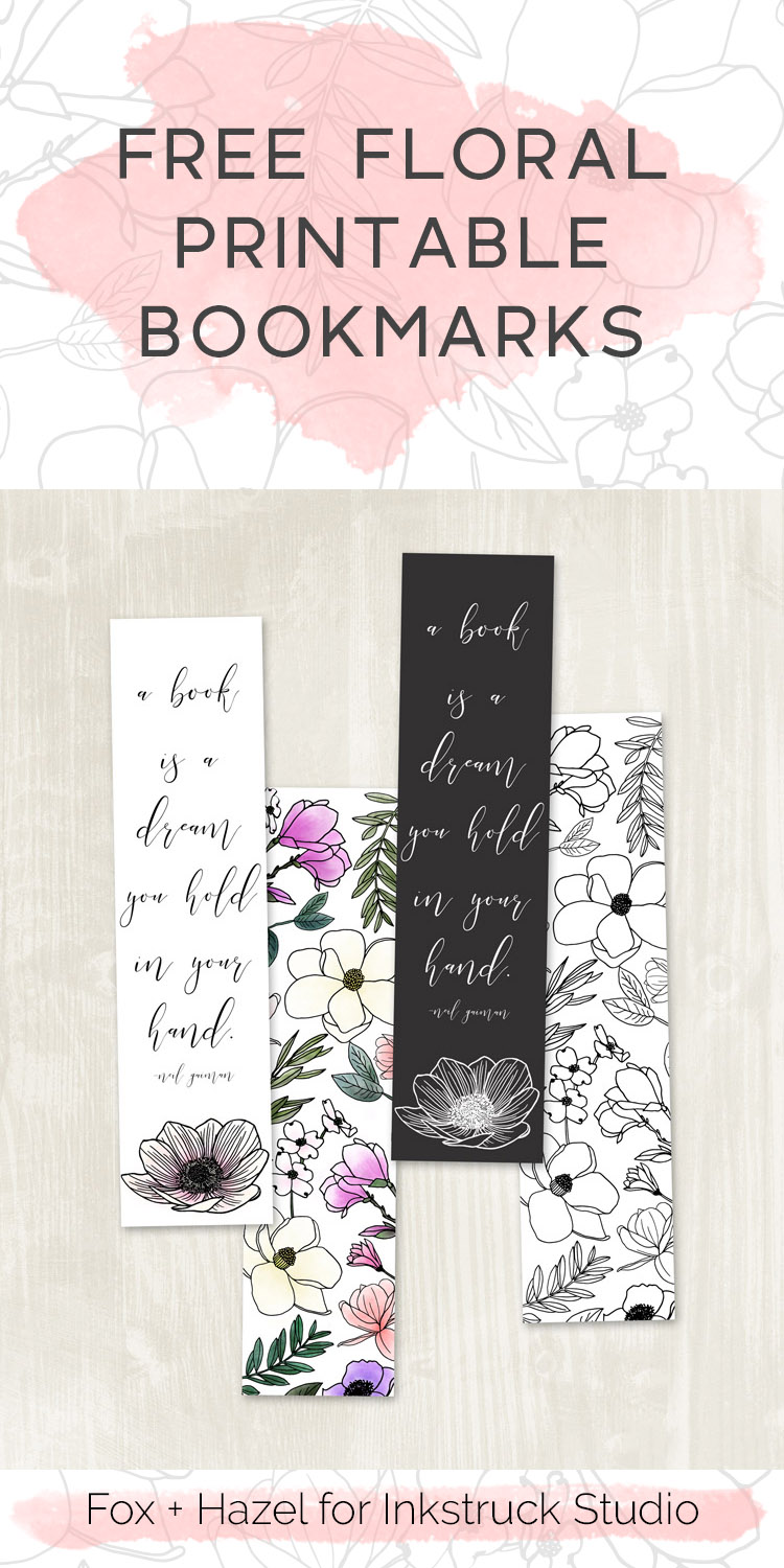 free floral printable bookmarks - inkstruck studio