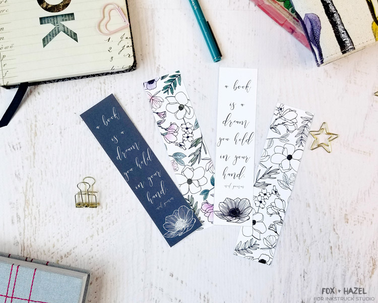 Free Floral Printable Bookmarks - Fox + Hazel for Inkstruck Studio