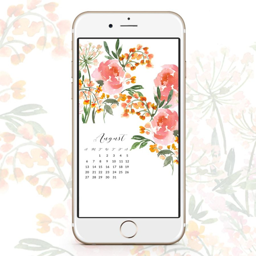 Free August watercolor wallpapers. Click to download.- Inkstruck Studio