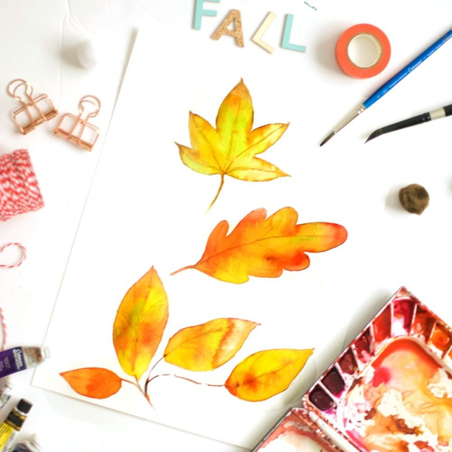Love to paint fall beauties? Learn to paint a beautiful watercolor fall leaf in three different ways from this post. Detailed steps included. Click to find out more - Inkstruck Studio