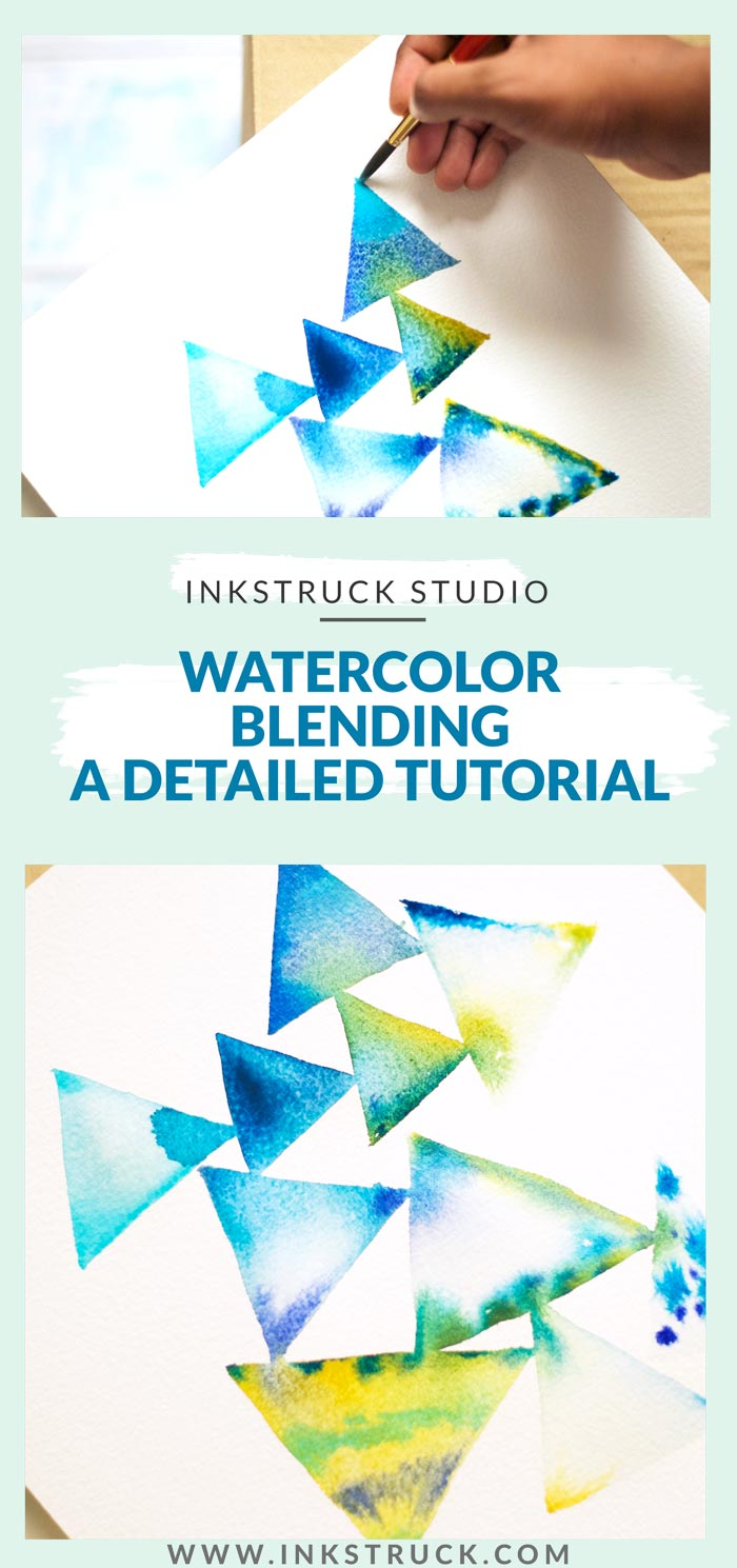 Learn the tips and tricks how to use the simple technique of wet on wet from this detailed watercolor blending tutorial - Inkstruck Studio