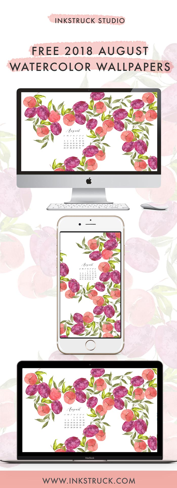 Grab my free 2018 August watercolor wallpapers on the blog now with both dated and undated versions for phones and desktops. - Inkstruck Studio