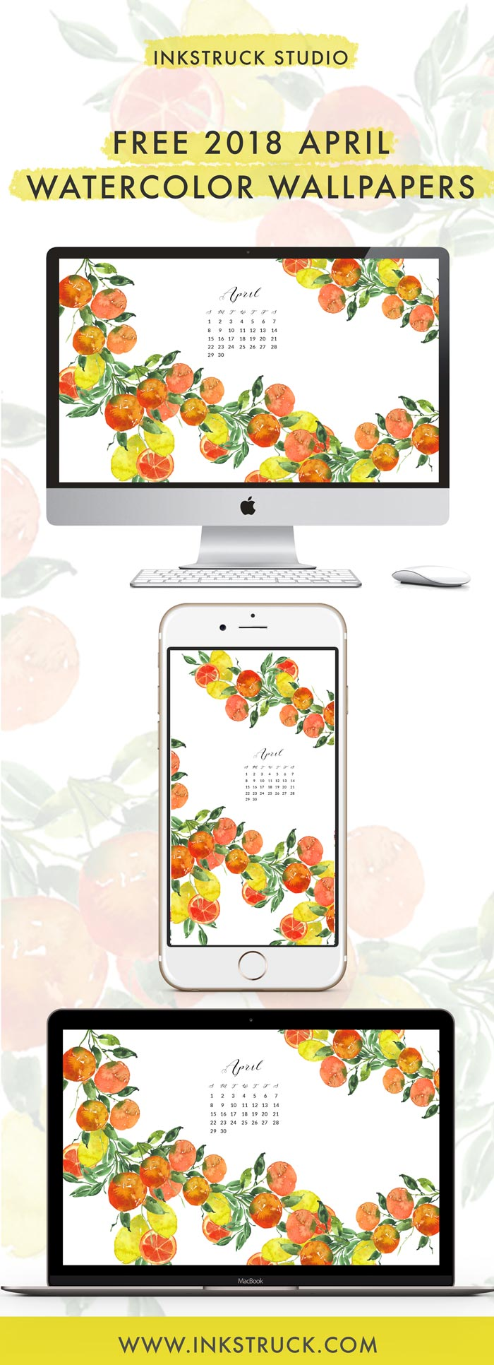 Grab my free 2018 April watercolor wallpaper on the blog now with both dated and undated versions for phones and desktops. - Inkstruck Studio