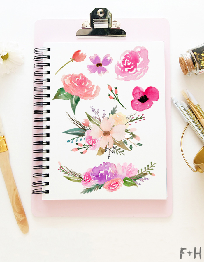 Free watercolor flower graphics