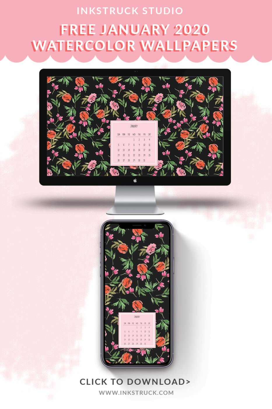 Download free January watercolor wallpapers for January 2020 in the blog. Available in both desktop and mobile versions in dated and undated styles.-Inkstruck Studio