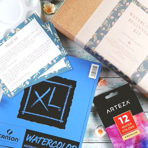 Watercolor beginners kit includes Arteza watercolor set,2 watercolor brushes,one palette and Canson XL watercolor paper pad-Inkstruck Studio