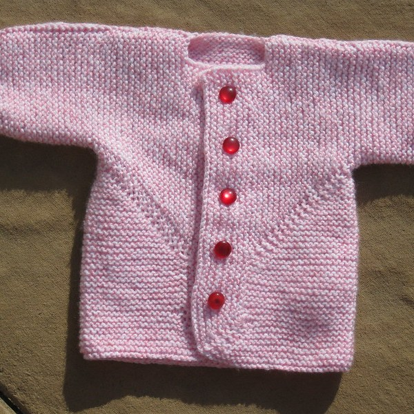 Baby Surprise Jacket in marled pink acrylic