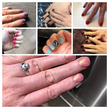 A collage of this summer's manicures, featuring my brightly coloured nails.