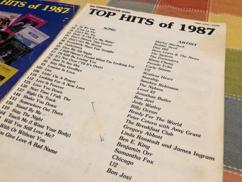 Top Hits of 1987: A battered old Hal Leonard songbook that has seen much better days.