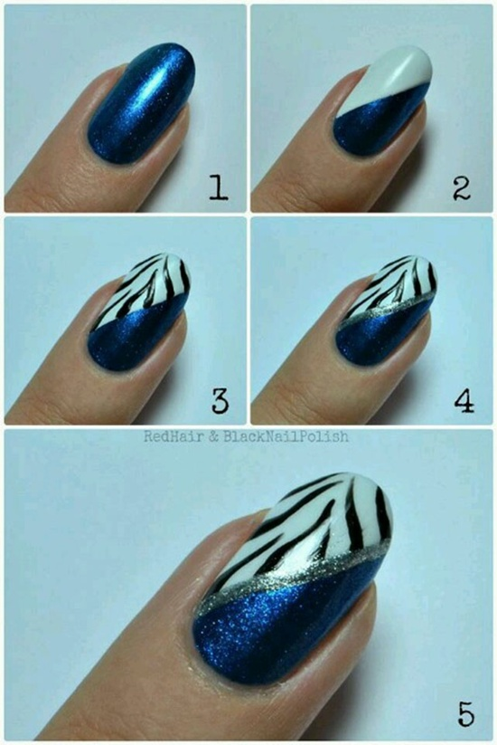 Dark Blue Nails With Silver Triangle Design Nail Art