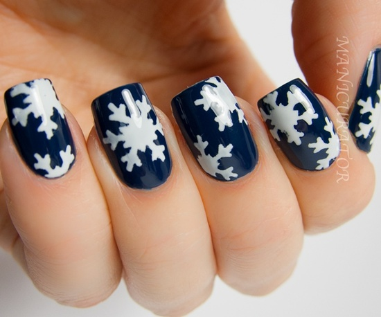 Matte Blue Nail Art With Snowflakes