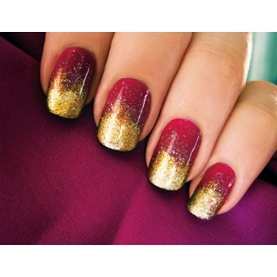 Stunning Red Gold Nail Art