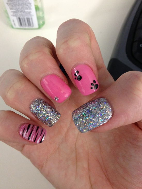 Pink Nail Art Contrast Of With Black