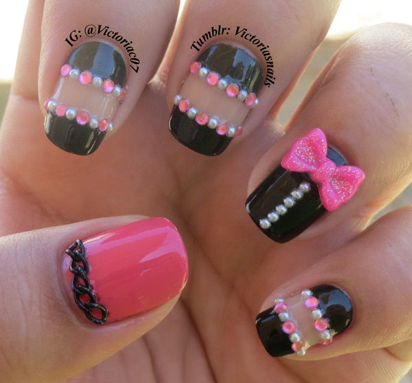 Here Is A Great Exle Of Some 3d Nail Art As You Can See The Pink Bow Tie And Black Chain Link Really Make This Design We Also Like How They Have