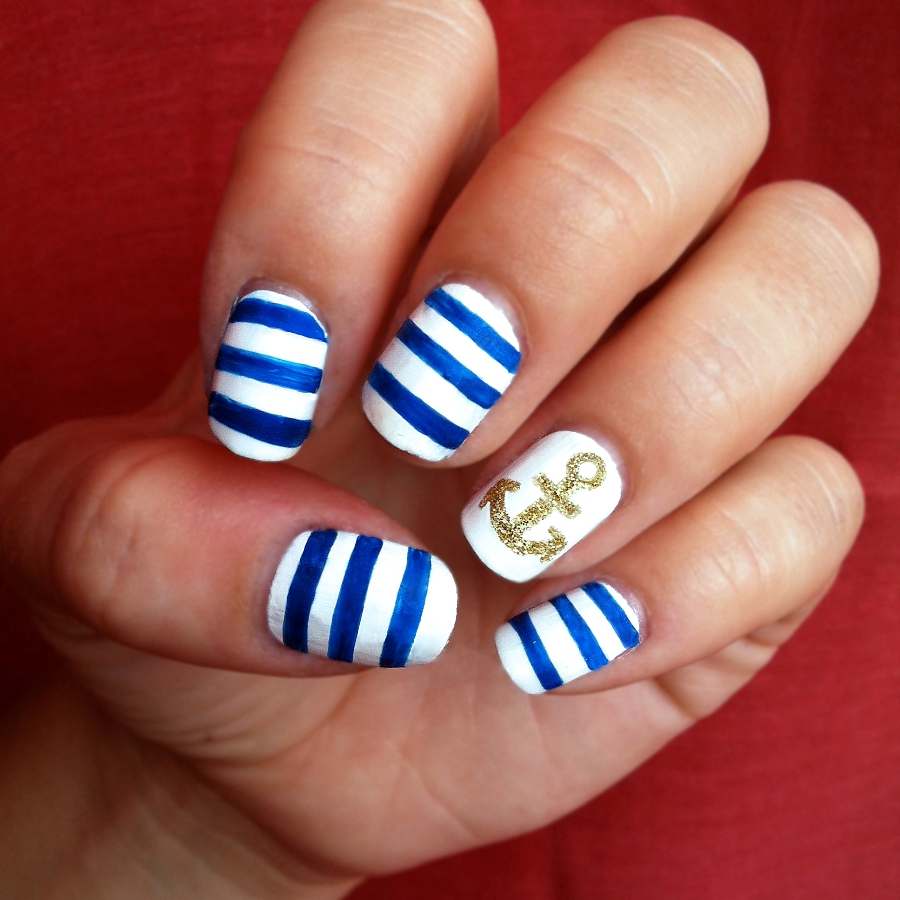 General Maritime Nail Art Design Ideas With Blue