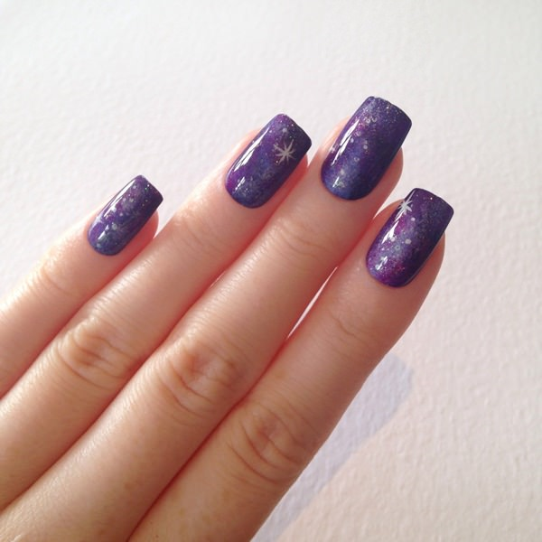 You Don T Always Need To Add Blue Your Galaxy Nail Art Here We Have Shades Of Violets Blended Together With A Touch Pink Dimension