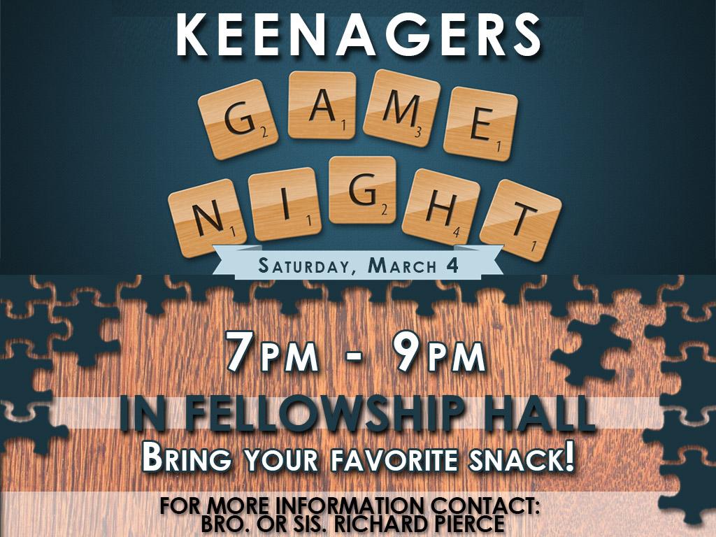 Mar 4, 2017   Keenagers Game Night
