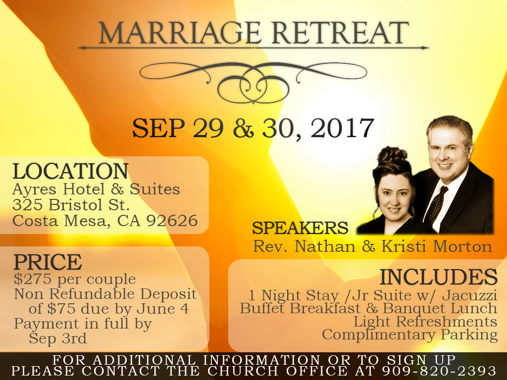 Sep 29-30, 2017 | Marriage Retreat