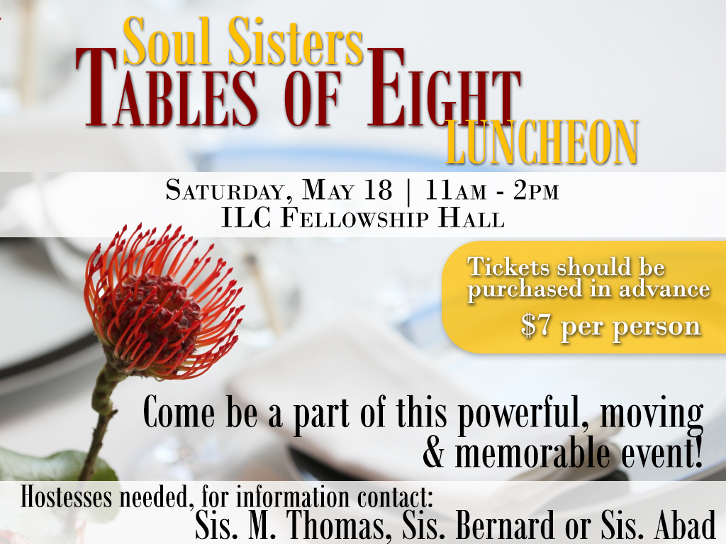 Soul Sisters Tables of Eight Luncheon | May 18, 2018
