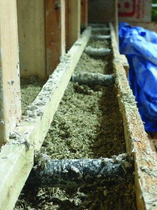Shuttering with hempcrete. Photo by Alex Sparrow