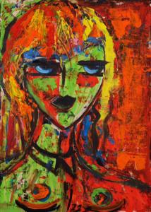 Anna Izzo - L'incontro - tecnica mista su tavola - cm 50x70