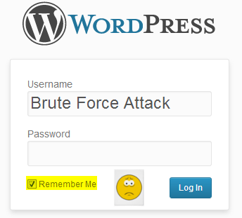 WordPress admin login with brute force attack typed