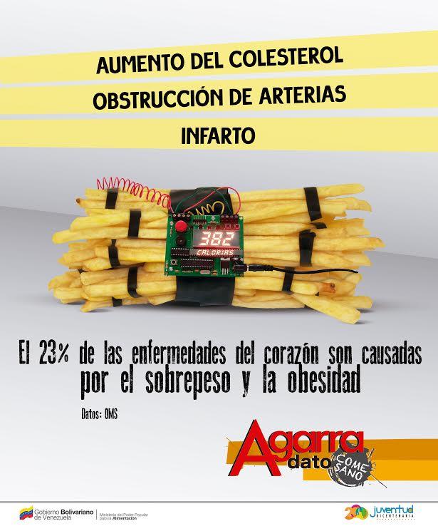 """Mit drastischen Bildern will die Regierung von Venezuela über die gesundheitlichen Gefahren aufklären. """"23 Prozent der Herzkrankeiten sind Folge von Übergewicht und Fettleibigkeit"""