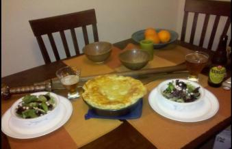 Kristin L's Cheese and onion pie, wall salad