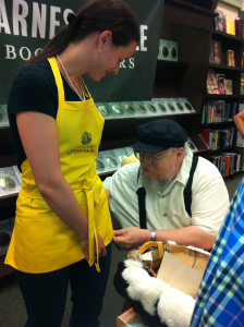 George signs apron