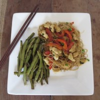 Home-made Singapore Noodles and Szechuan Beans