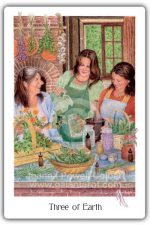 Three of Earth from The Gaian Tarot by Joanna Powell Colbert