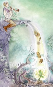 6 of Pentacles from The Shadowscapes Tarot by Stephanie Pui-Mun Law