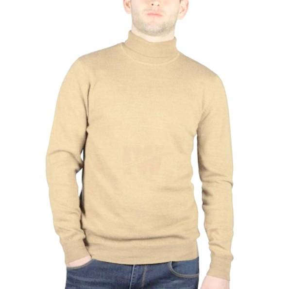 Men High Neck Turtle Neck Sweatshirt Tops T-Shirt Skin Front
