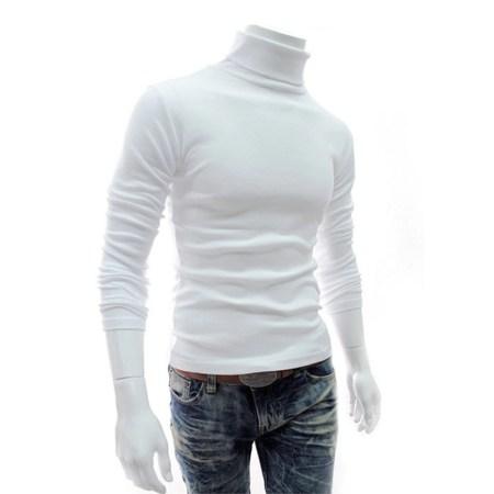 Men High Neck Turtle Neck Sweatshirt Tops T Shirt White Front Side