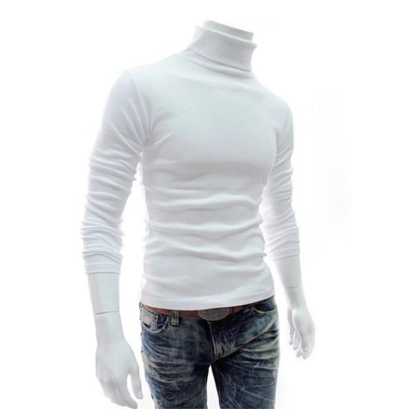Men High Neck Turtle Neck Sweatshirt Tops T-Shirt White Front Side