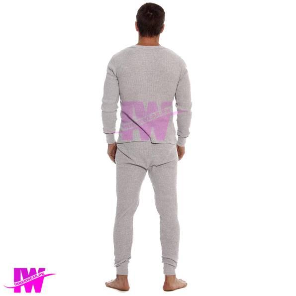 Men Long Johns Light Grey Back