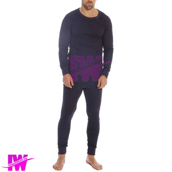 Men Long Johns Winter Warmer Body Fit Long Johns Innerwear Navy Blue Front