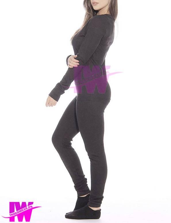 Women Long Johns Innerwear Winter Warner Fit on Body Dark Grey Side