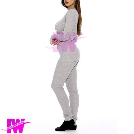 Women Long Johns Light Grey Side