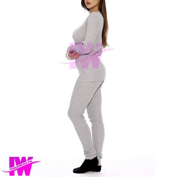 Women Long Johns Winter Warmer Body Suit innerwear Light Grey Side