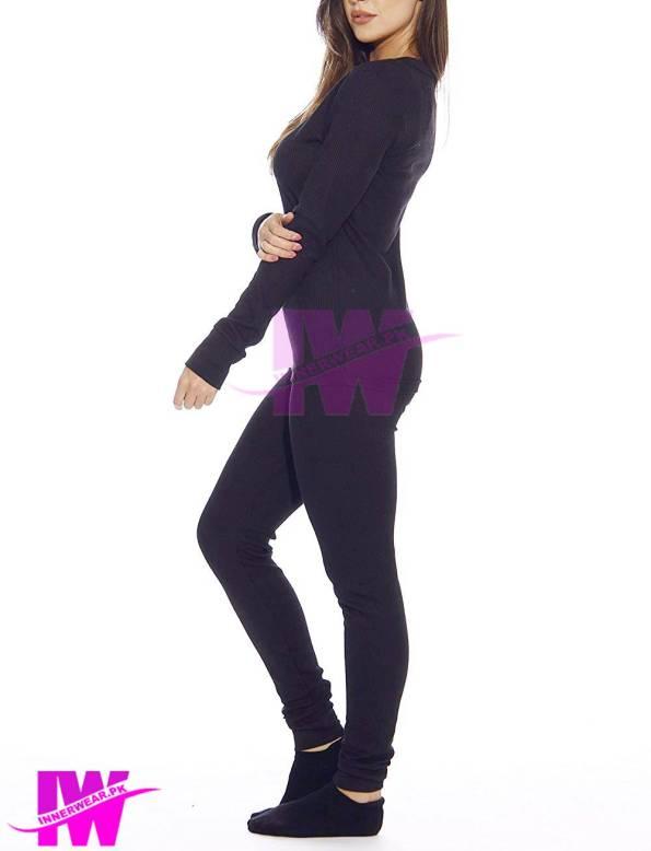 Women Long Johns Winter Warmer Body Fit Long Johns Innerwear Navy Blue Side