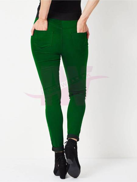 Ladies Denim Tights Green One Size Back Side