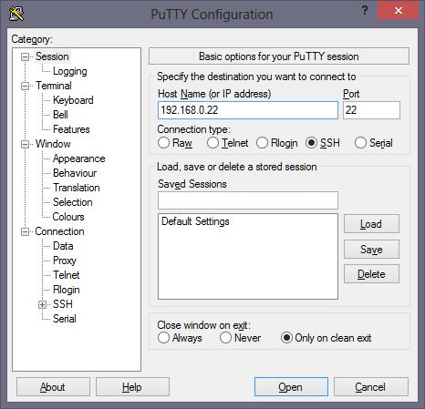 Configuración de la conexión remota con Putty